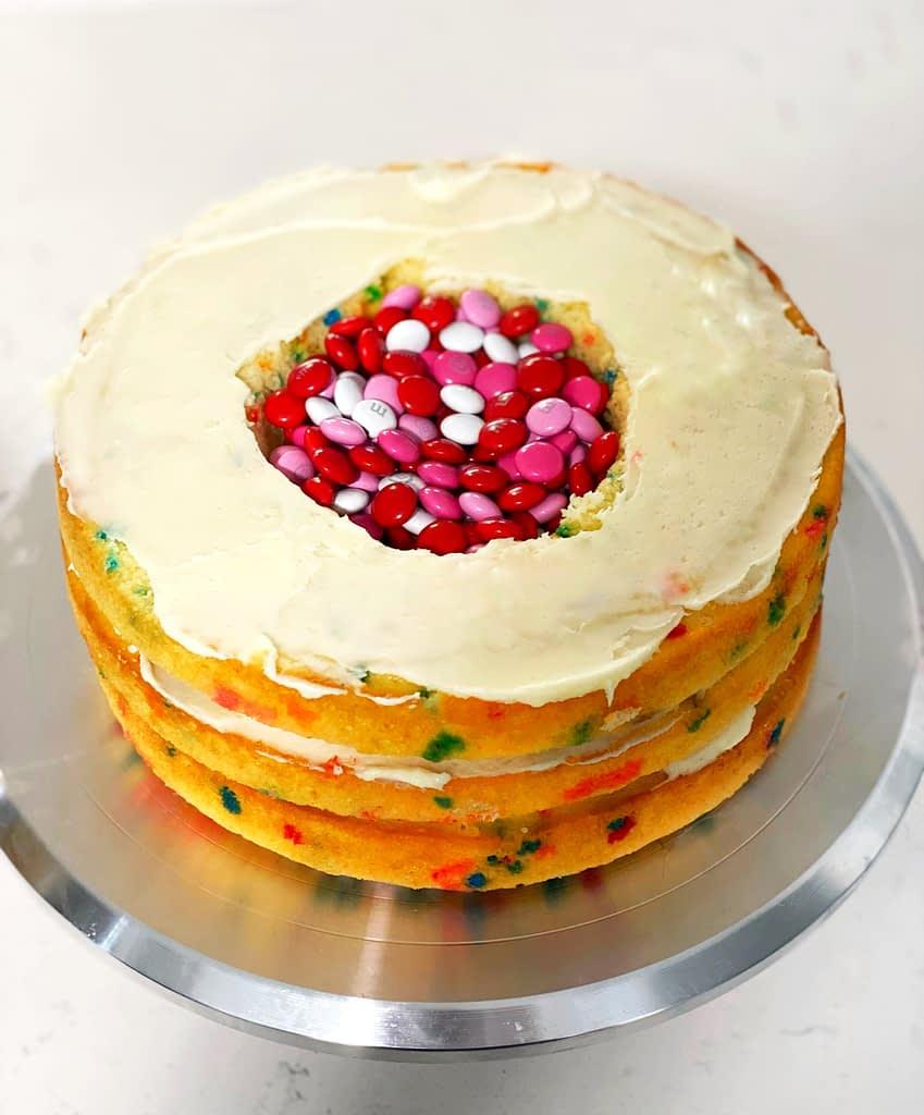 M&M funfetti Birthday cake with vanilla buttercream