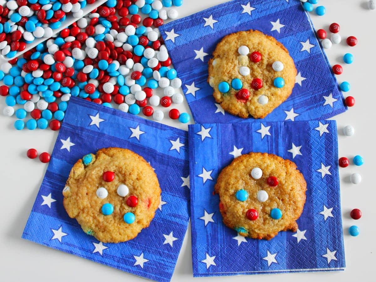 4th of july patriotic mini m&m cookies