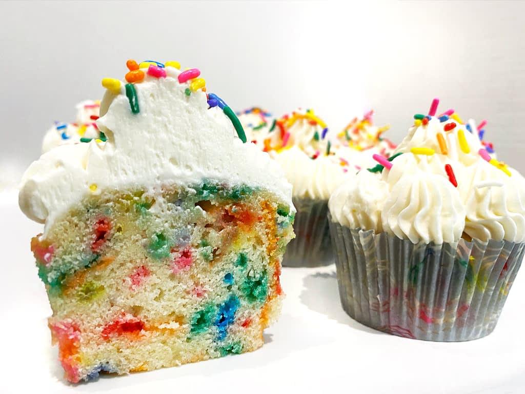 funfetti cupcakes with vanilla buttercream