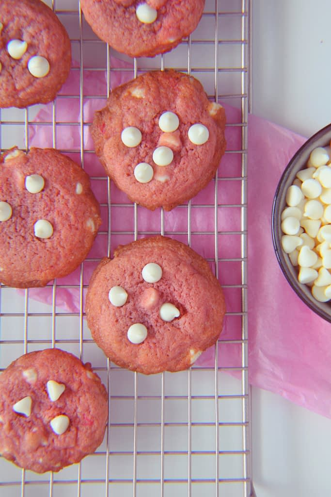 pink velvet cookies with white chocolate chips
