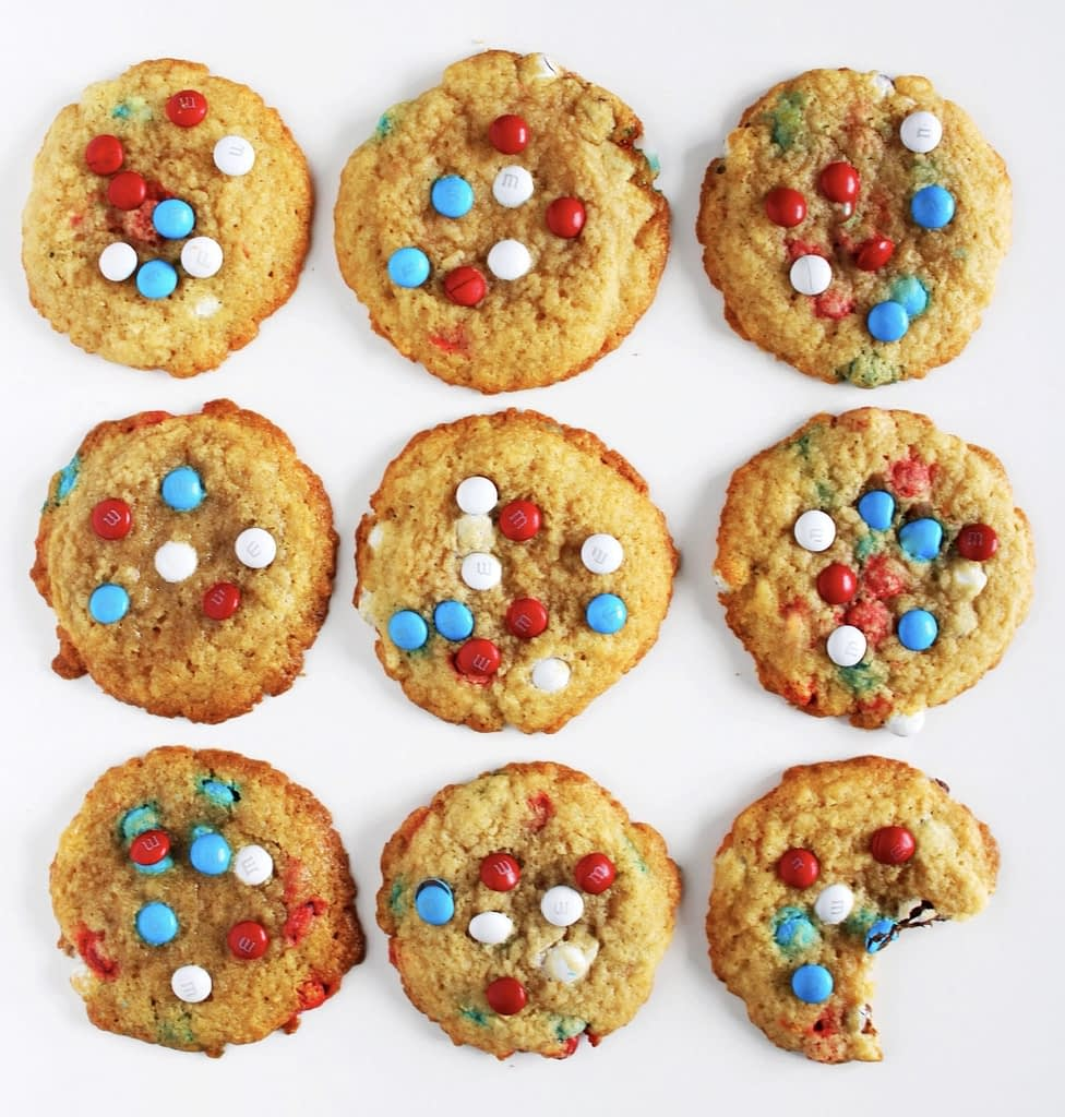 red, white, and blue m&m cookies 4th of july