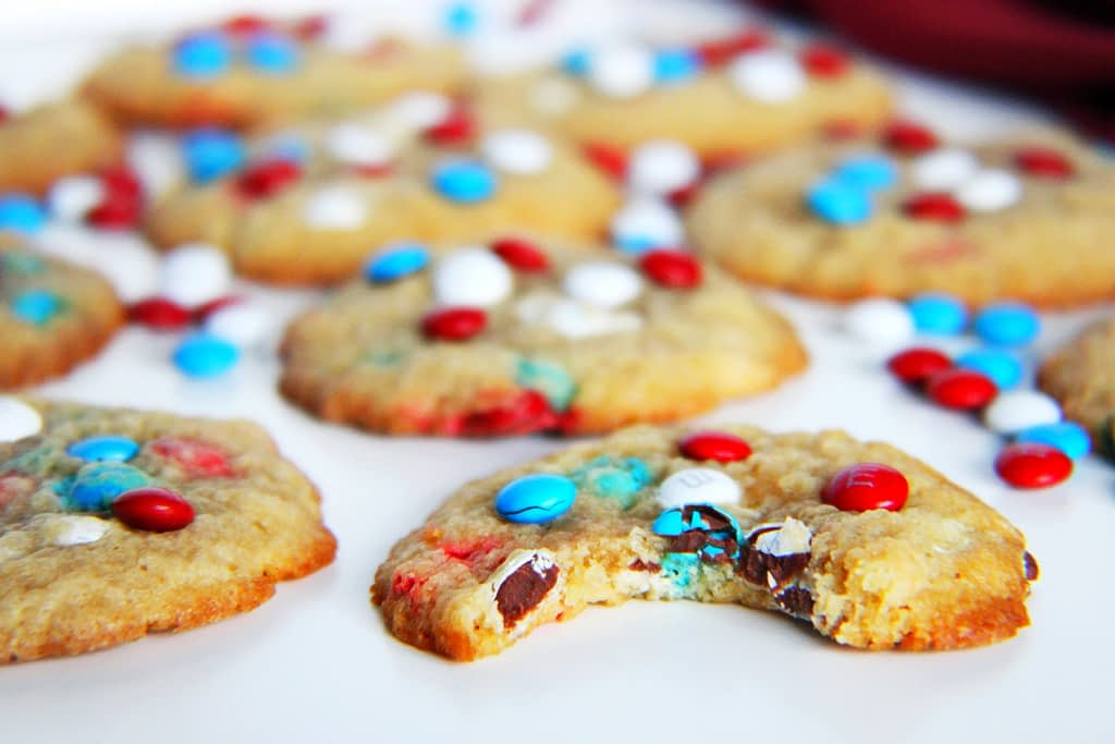 4th of july patriotic mini red, white, and blue m&m cookies