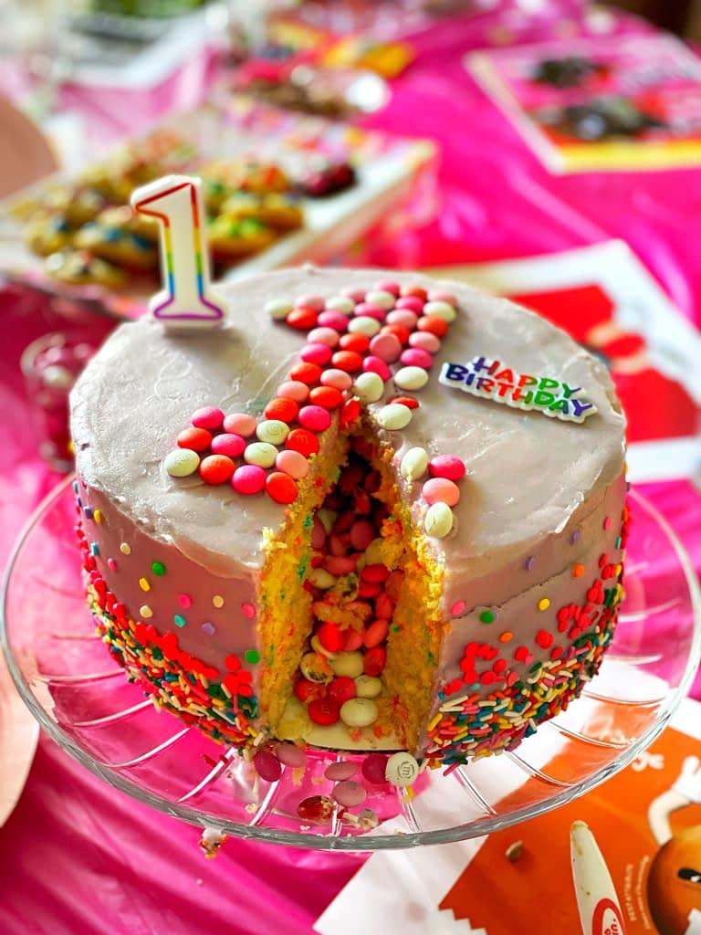 M&M funfetti first Birthday cake